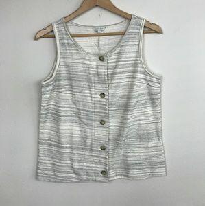 Lucky Brand Top Blouse Sleeveless White Gray Sz: M